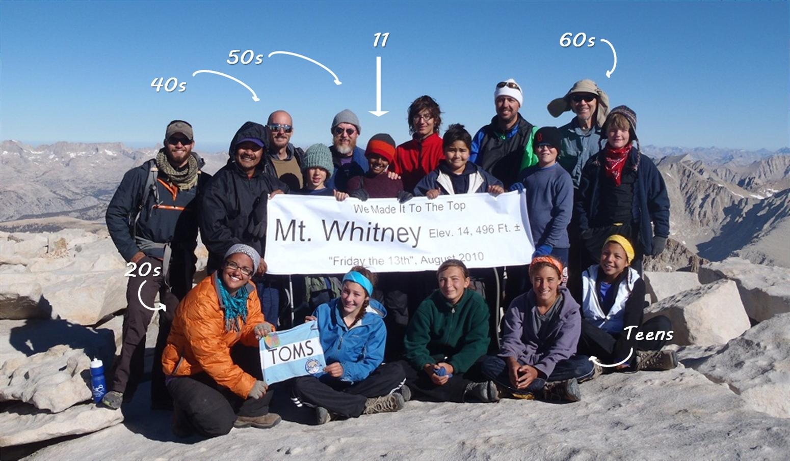 Mt. Whitney summit group photo