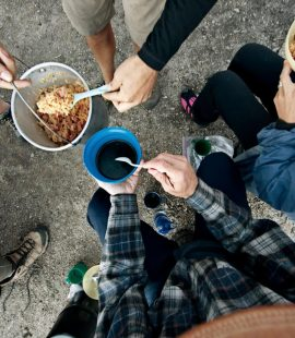 Dinner time on the trail, cook what you enjoy!