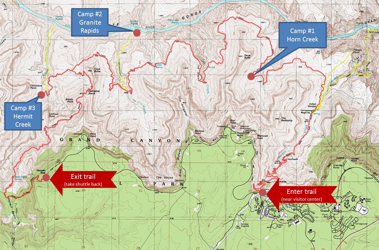 Backpack The Grand Canyon In Three Nights TSX Challenge - Grand canyon campground map
