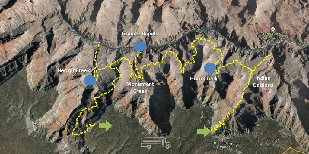 Map of Grand Canyon Challenge backpacking loop
