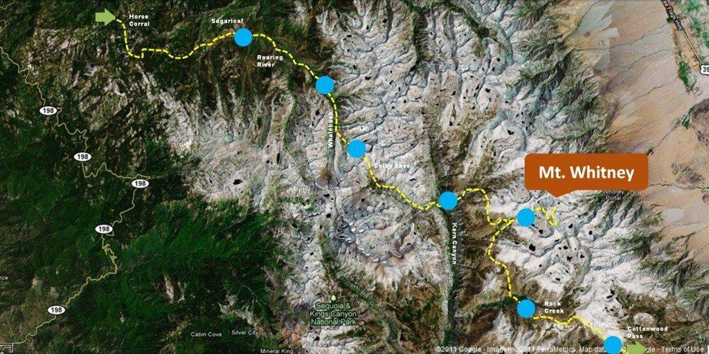Trans-Sierra trek to Mt. Whitney Map