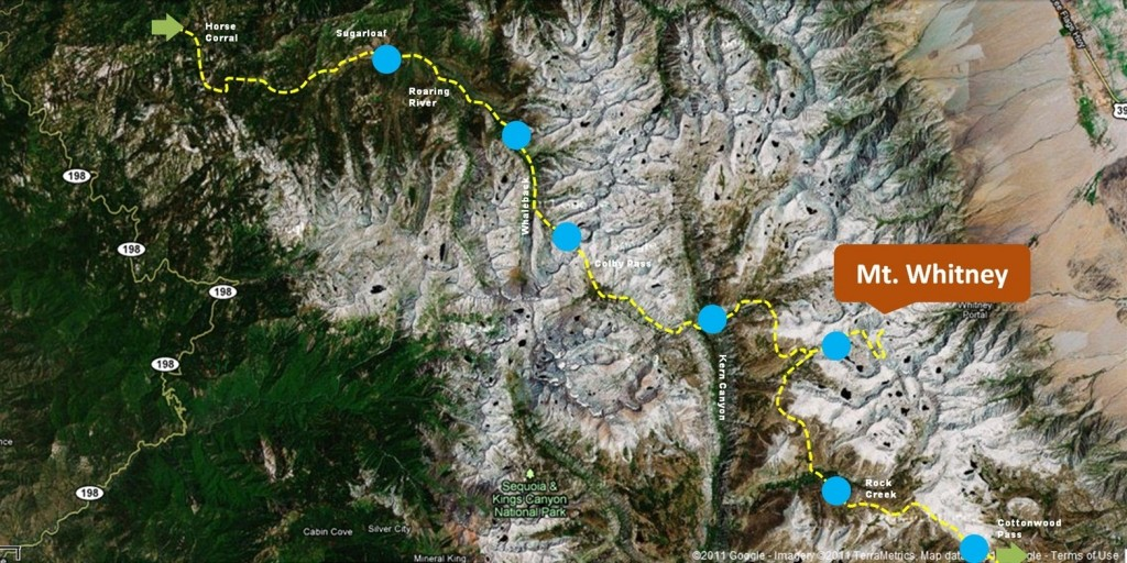 Trans-Sierra route to Mt. Whitney on TSX Challenge