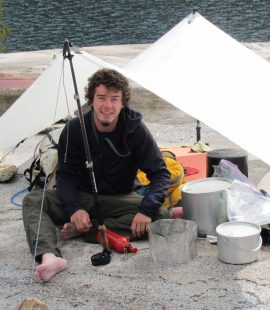 Zack Fisher Cooking at Colby Lake on Trans-Sierra trek to Mt. Whitney