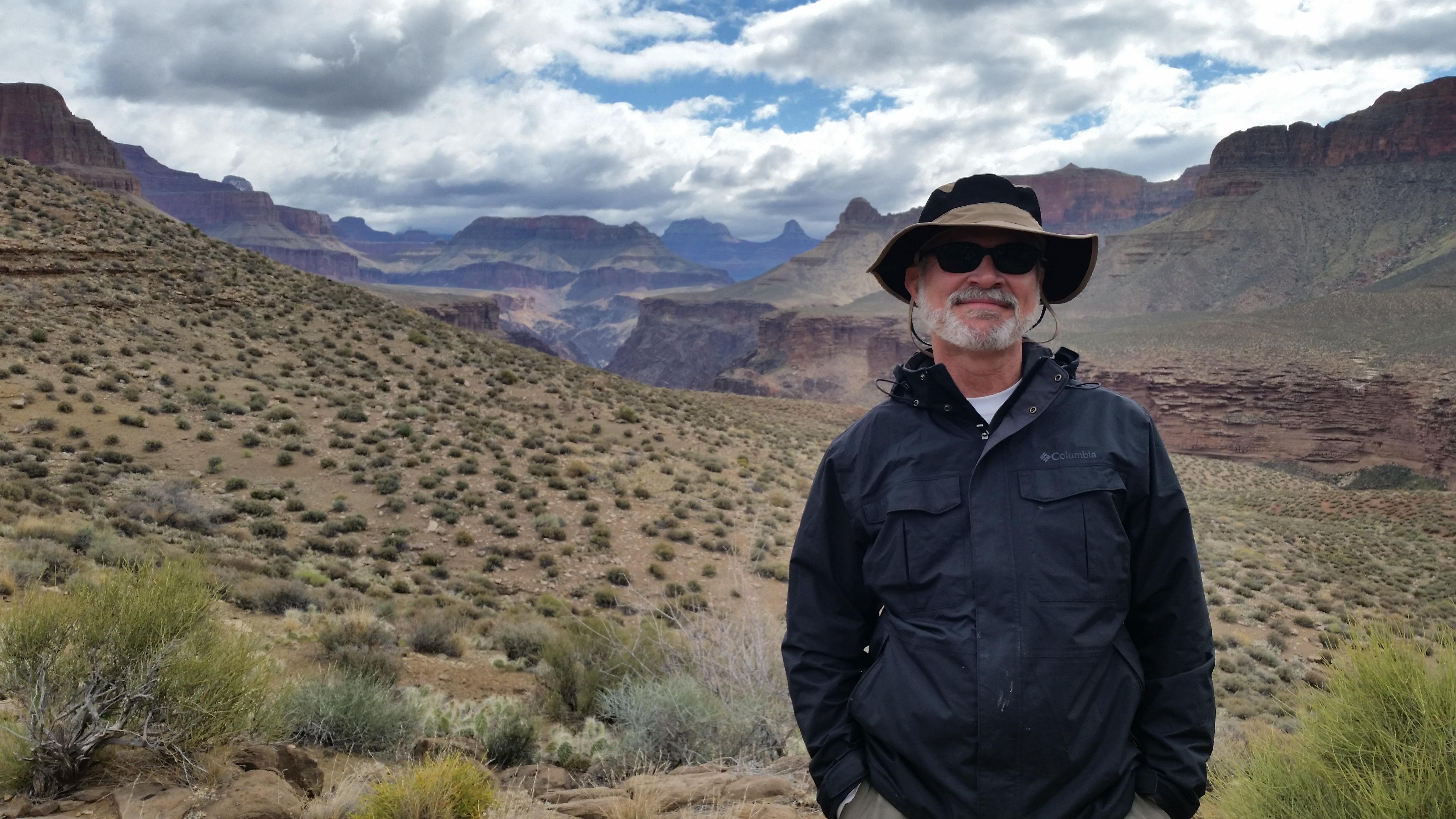 Hiker on Tonto Trail Grand Canyon