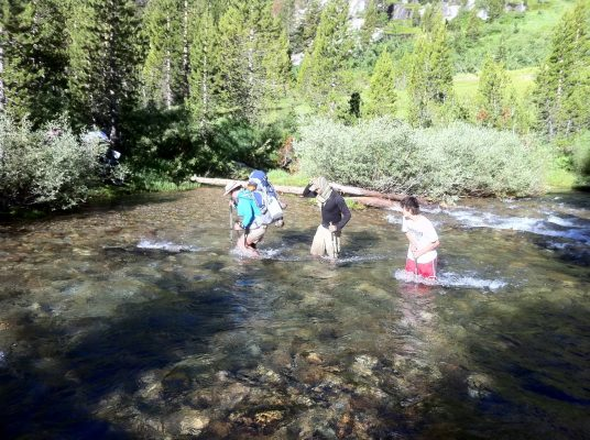 Big Wet Meadow River Crossing - Trans-Sierra Xtreme Challenge - Mt. Whitney Hike