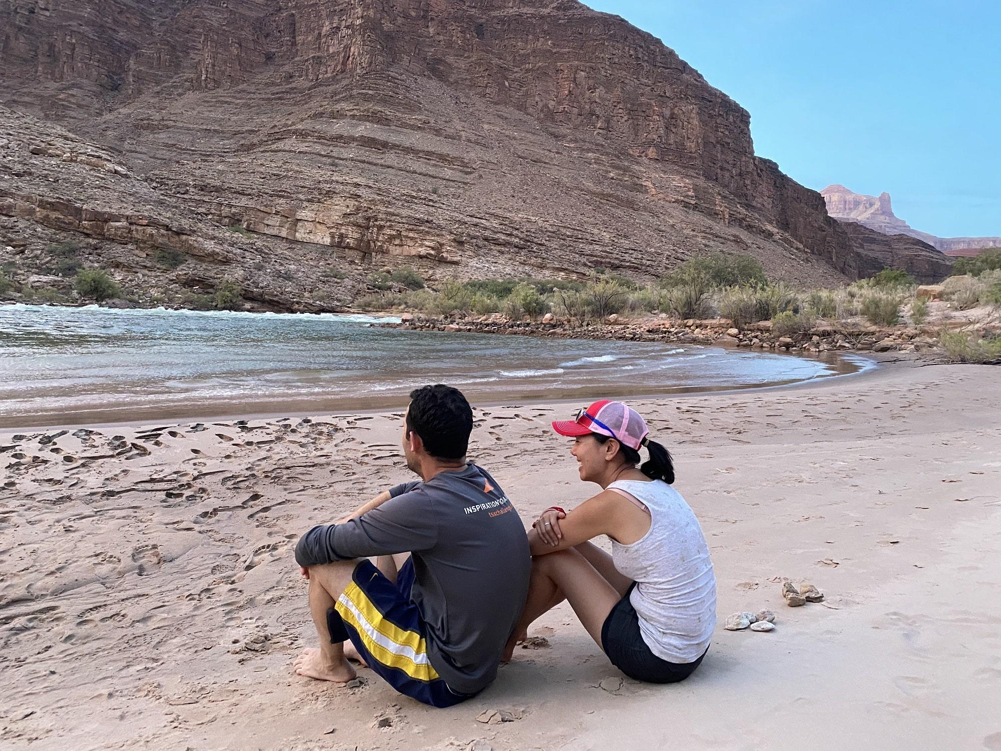 beach at escalante creek on escalante route - grand canyon challenge