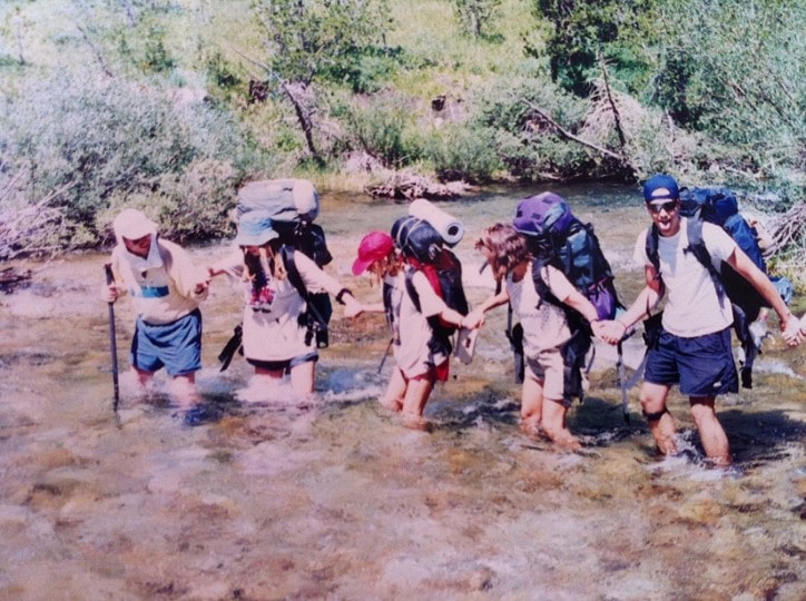1994 - Trans-Sierra trek to Mt. Whitney, Youth crossing Kern